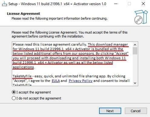 Um exemplo de um falso instalador do Windows 11 (Fonte: Kaspersky)